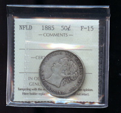 1885 Newfoundland 50 Cents ICCS Certified F15 Books: $190 B553