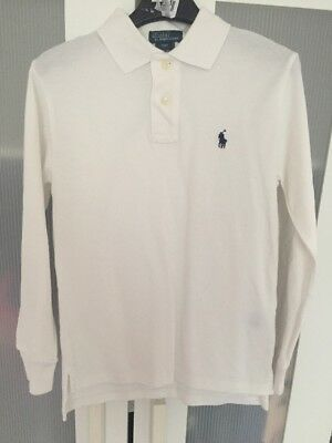 RALPH LAUREN Boys Long Sleeve White Polo Top Age 8-10 Size S PERFECT CONDITION