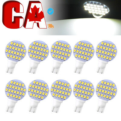10 X Pure White T10 24-SMD RV Trailer Landscaping Interior Dome LED Light Bulbs