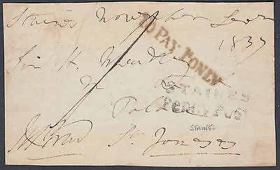 1837 Staines Penny Post / To Pay 1d Only; Signed; Postage Due; Middlesex/Surrey