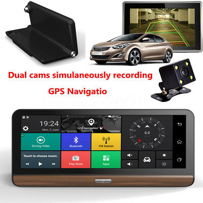 8'' 4G Wifi HD 1080P Android Car DVR Camera Video Rear View Dashboard GPS US Map