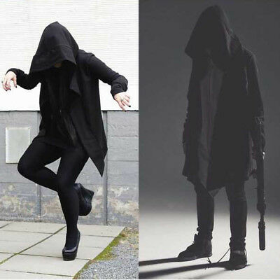 US Men Hooded Jacket Long Cardigan Black Ninja Goth Gothic Punk Hoodie Coat New