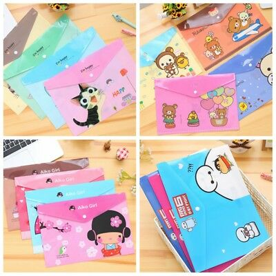 4 Cartoon Styles PVC A4 File Folder Stationery Bag School Office Supplies