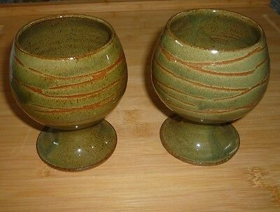 Art Pottery Pair of Hand Crafted Terracotta / Stoneware Glazed Wine Goblets
