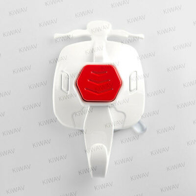 KiWAV white plastic motorcycle suction hook red button 1 piece