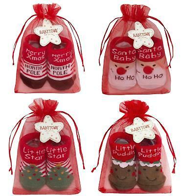 Baby Christmas Socks in Organza Bag / Christmas Gift Set