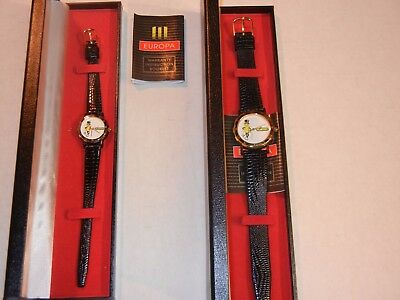 """Two 1993 """"mr. Peanut"""" Character His & Hers Europa Wrist Watches Original Cases"""