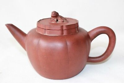 yixing Chinese pottery tea pot teapot signed foo dog lid antique 19th c century