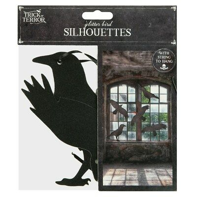 5pc Halloween Raven Silhouettes Spooky Scary Party Decorations Indoor Outdoor