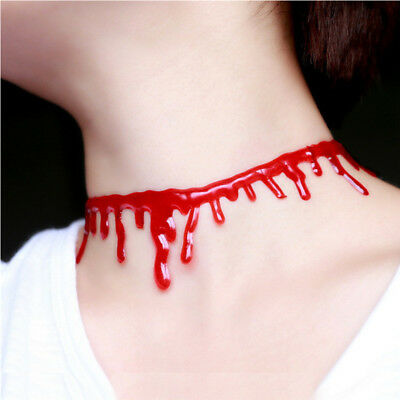 Halloween Blood Choker Fancy Dress Costume Necklace Jewellery Accessory Neck