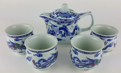 5pc Ceramic BLUE DRAGON Chinese Tea Set Teapot strainer 4 Cups in gift box