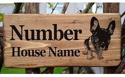 French Bulldog House Number Sign Name Plaque Plate Personalised Frenchie Dog New
