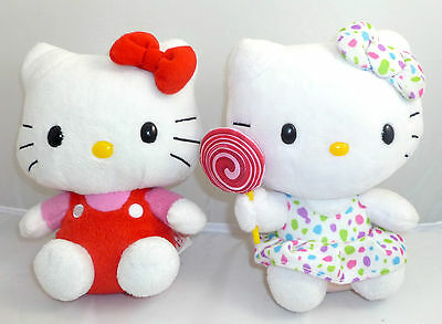 """Lot Of 2 Hello Kitty Ty Sanrio Plush Doll  Size: 6 """" Tall"""
