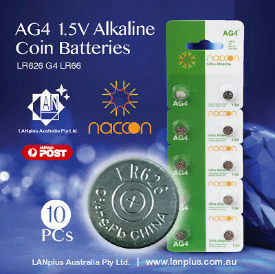 10 X AG4 1.5v LR626 G4 LR66 177 GP77A 377 18mAh Alkaline Button Coins Battery