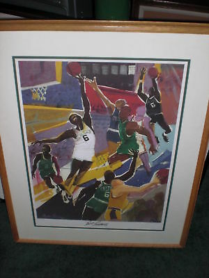 Bill Russell Signed Beasley Print Framed Boston Celtics