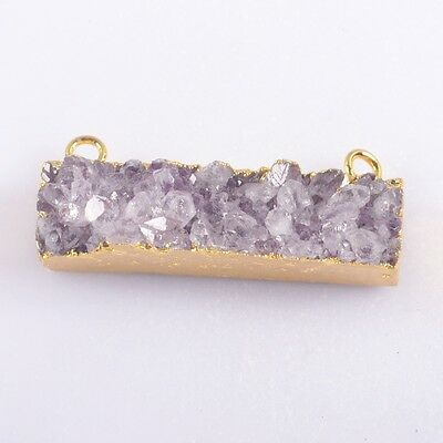 Rectangle Natural Amethyst Druzy Connector Gold Plated T039497