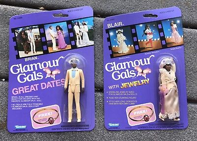 1983- 2 GLAMOUR GALS Brian & Blair Great Dates African American Kenner Dolls MOC