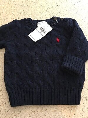 Bnwt Boys Ralph Lauren Cable Knit Jumper Age 3 - 6 Months