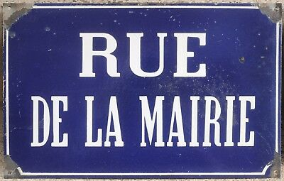 Old French enamel steel street sign plaque road plate Mairie Town Hall 1920s vgc