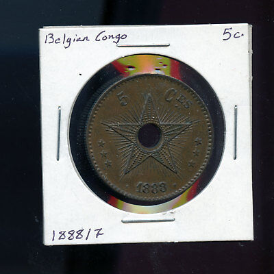 Belgian Congo Free State, 5 Centimes, 8 Over 7, 1888 B990