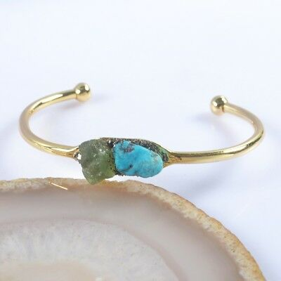 Freeform Rough Natural Turquoise Olivine Chips Bangle Gold Plated T041830