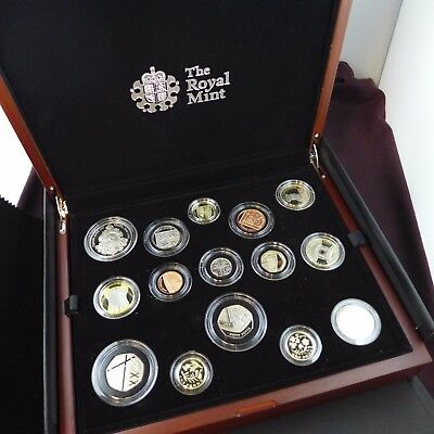 2014 UK Royal Mint Premium proof coin set includes 15 proof coins and C.O.A etc