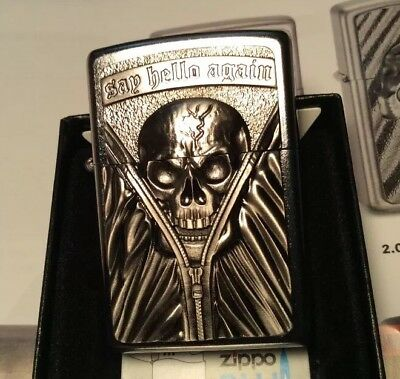Zippo's. Say Hellow Again Heavy Emblem Lighter With Chrome Finish - New In Box !