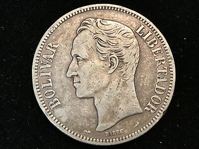 T2: World Coins Venezuela 5 Bolivares 1911 Free Shipping in U.S.