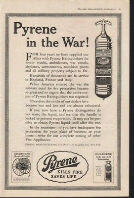 1919 Pyrene Fire Extinguish War Military Safe Home Ad 12857