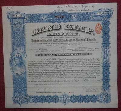 31028 SOUTH AFRICA 1909 Rand Klip Call certificate for 22 shares