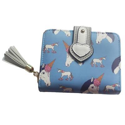 Ladies Girl Unicorn Print Zipper Wallet Purse Credit Cards Holder New CB
