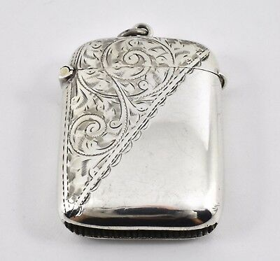 Antique Edwardian Solid Sterling Silver Vesta Case, 1904, 28g