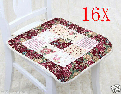 16X European Pastoral Style Red 45 * 45 CM Cotton Practical Chair Mats Pads