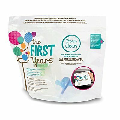 The First Years Steam Clean Reusable Microwave Sterilizer Bags, 8 Count New