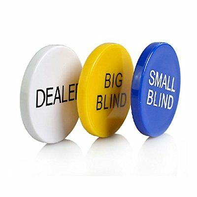SmartDealsPro 3pcs Small Blind, Big Blind and Dealer Poker Buttons New