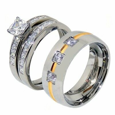 Lover Stainless steel His 3 CZ w/ Gold Stripe Band /Hers Princess CZ Ring Set