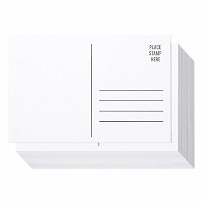 50 Pack Bulk Postcards - Blank Plain White 4x6 Mailable Postcard Set New