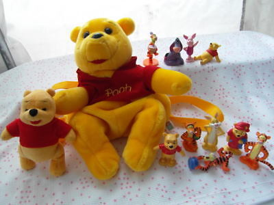 Winnie The Pooh Disney Backpack + Plush Doll+ 10 Pvc Figures Lot