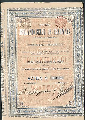 ZC923 Hollando-Belge Tramways 1886 certificate  with all coupons attached