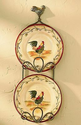 """Verdi Gras Rooster Early Rise Double Plate Rack by Park Designs, 22"""" High, Iron"""