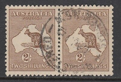 1916 2/- BROWN KANGAROO, pair with listed variety, USED, catalogued $450