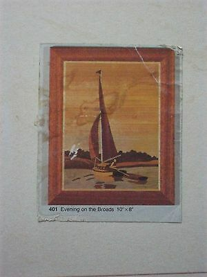 "MARQUETRY CRAFT PICTURE KIT ART VENEERS EVENING ON THE BROADS YACHT 410 10"" x 8"""