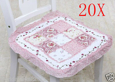 20X Pastoral Style Pink Flowery 42 * 42 CM Cotton Practical Chair Mats Pads