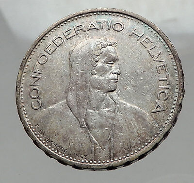 1932 Switzerland Founding HERO WILLIAM TELL 5 Francs Silver Swiss Coin i62985