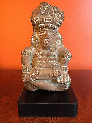 PRE COLOMBIAN STYLE Mexican Azteca TERRACOTTA FIGURE Chief