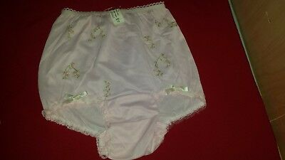 Vintage Girls Pink Lacy Embroidered Bow Panties Underpants Nylon 10 Usa Nos Nwt