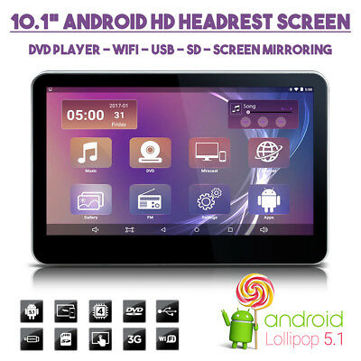"""10.1"""" Android HD Car Headrest WiFi DVD USB SD Monitor Screen For Kids Movies"""