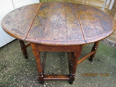 Victorian Solid Oak  Carved Top  Gateleg  Dropleaf  Oval Table  Original