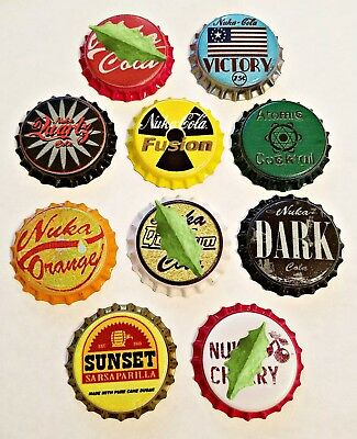 Set of 10 Fallout Unofficial Bottle Caps set #1 Nuka Cola Ready For Capping!