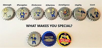 Set of 12 Fallout Unofficial Bottle Caps set #2 Quality made! Vault Tec Perks!
